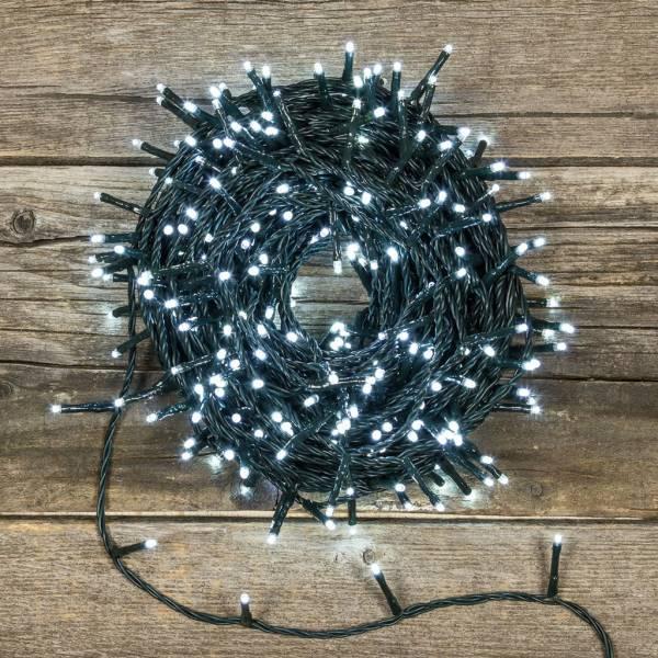 Guirlande led 50M blanc froid lumière fixe câble vert IP 44 extérieur noël