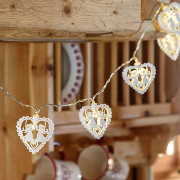 Guirlande lumineuse led cœurs blancs 1.35m piles AA intérieur décoration mariage baptême
