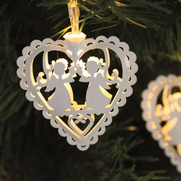 Guirlande lumineuse led cœurs blancs 1.35m piles AA intérieur sapin de noël
