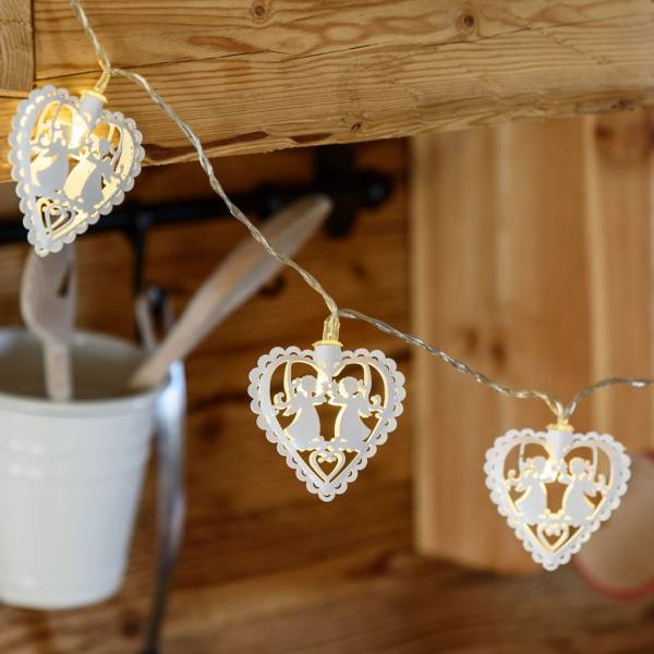 Guirlande led cœurs blancs 1.35m piles AA intérieur décoration bois composition florale