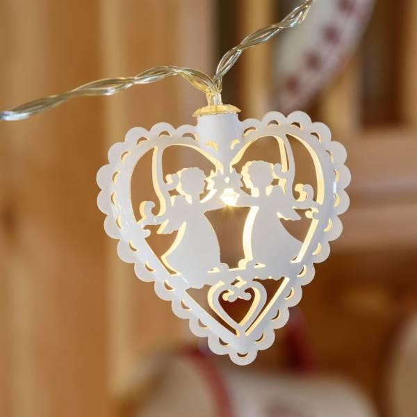 Guirlande led cœurs blancs 1.35m piles AA intérieur naissance chambre enfant
