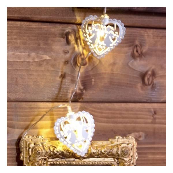 Guirlande led cœurs blancs 1.35m piles AA intérieur mariage chalet cosy