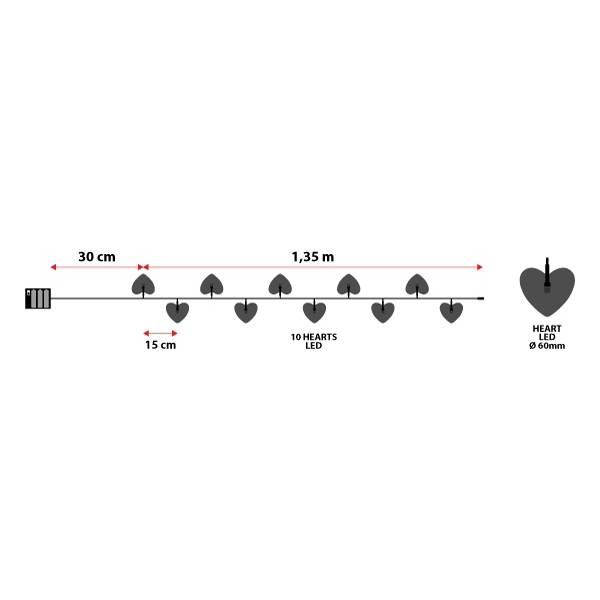 Guirlande led cœurs blancs 1.35m piles AA intérieur dimensions