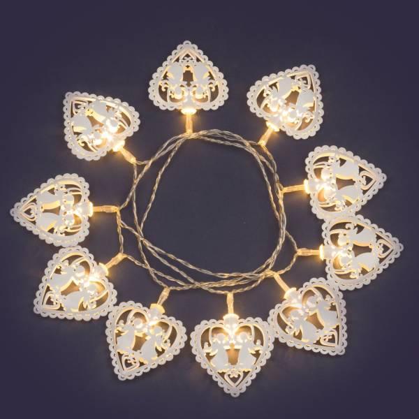 Guirlande led cœurs blancs boitier à piles AA intérieur 10 coeurs anges lumineux