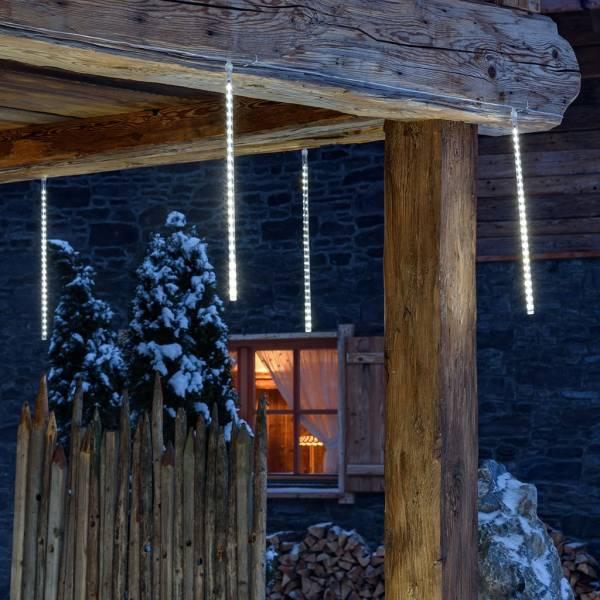 Stalactites lumineux LED effet chute de neige 50CM par 10 glaçons blanc froid décoration toit noël