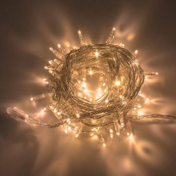 Guirlande lumineuse 10M extensible 96 LED Blanc chaud 8 programmes cable transparent 24V décoration fêtes