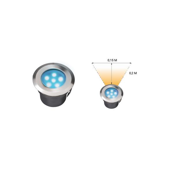 Spot extérieur encastrable LED 1W IP67 rond bleu Inox 316 12V Garden Pro flux lumineux voiture