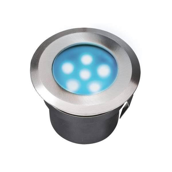 Spot encastrable LED 1W IP67 rond bleu Inox 316 12V Garden Pro professionnel
