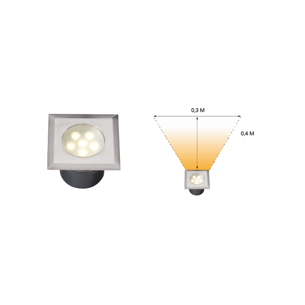 Spot encastrable LED 1W IP68 carré blanc chaud Inox 316 12V Garden Professionnel angle