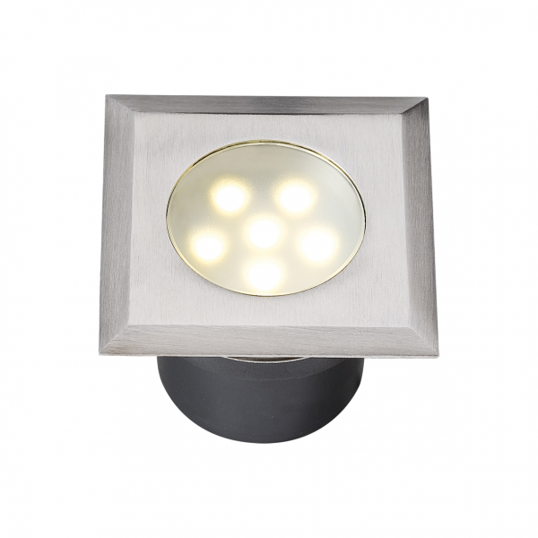 Spot encastrable LED 1W IP67 carré blanc chaud Inox 316 12V Garden Pro