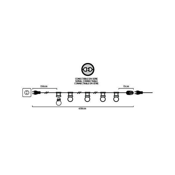 Guirlande Guinguette 5M 10 culots E27 connectable schéma dimensions techniques