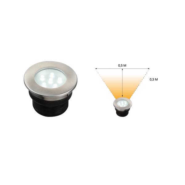 Spot de sol encastrable LED 1W IP67 rond blanc froid Inox 12V Garden Pro angle éclairage terrasse allée jardin