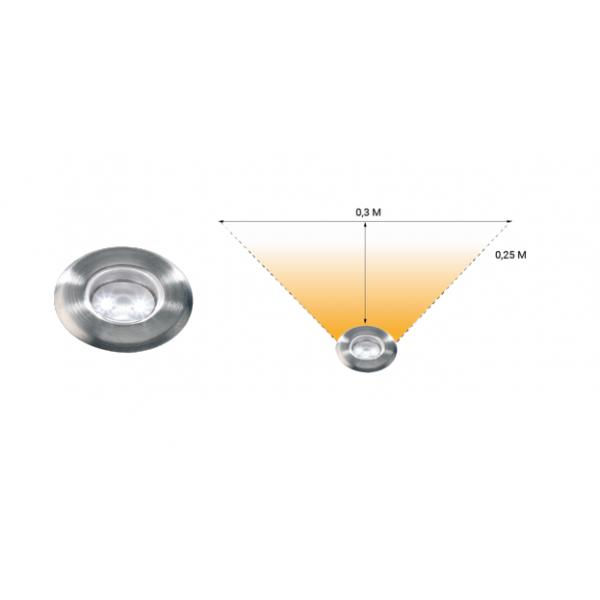 Spot encastrable LED 0,5W IP67 blanc froid Inox 12V Garden Pro angle éclairage terrasse