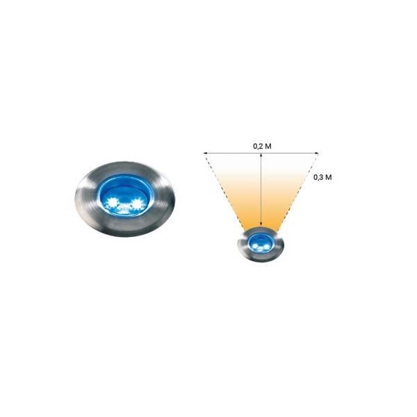 Spot de sol encastrable LED bleu 0,5W IP67 Inox 12V Garden Pro angle éclairage piscine