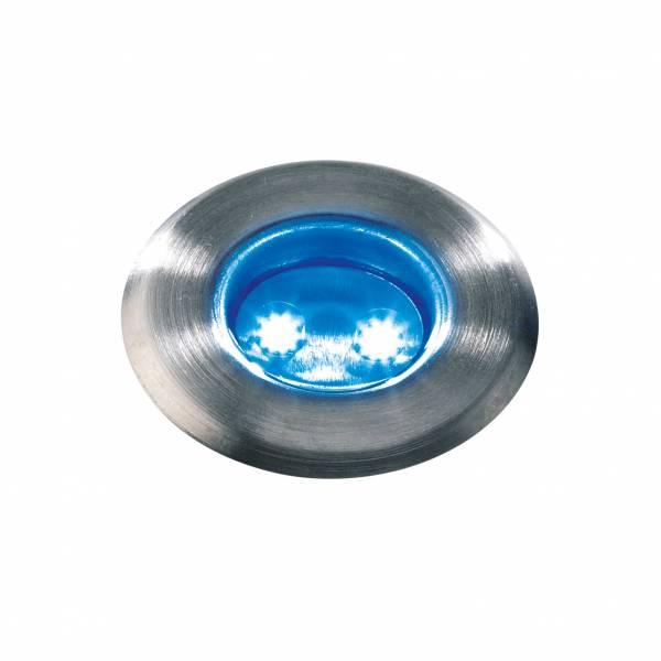 Spot de sol encastrable LED bleu 0,5W IP67 Inox 12V Garden Pro professionnel