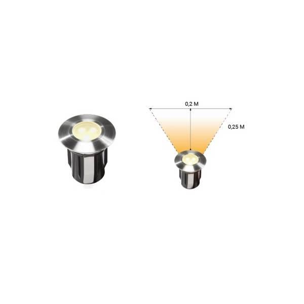 Spot extérieur encastrable LED 0,5W IP67 blanc chaud Inox 316 12V Garden Pro angle lumineux éclairage terrasse