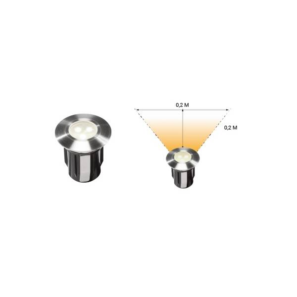 Spot encastrable LED 0.5W IP67 blanc Inox 316 12V Garden Pro professionnel angle lumineux éclairage