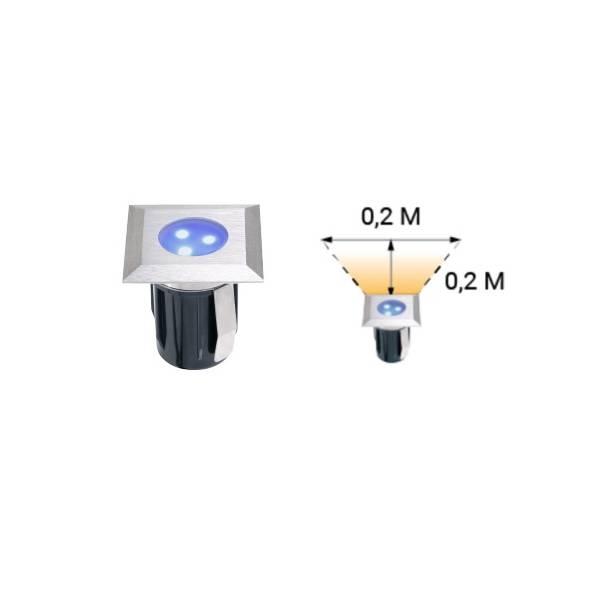 Spot de sol encastrable carré LED 0,5W IP67 bleu Inox 316 12V Garden Pro professionnel dimensions angle éclairage
