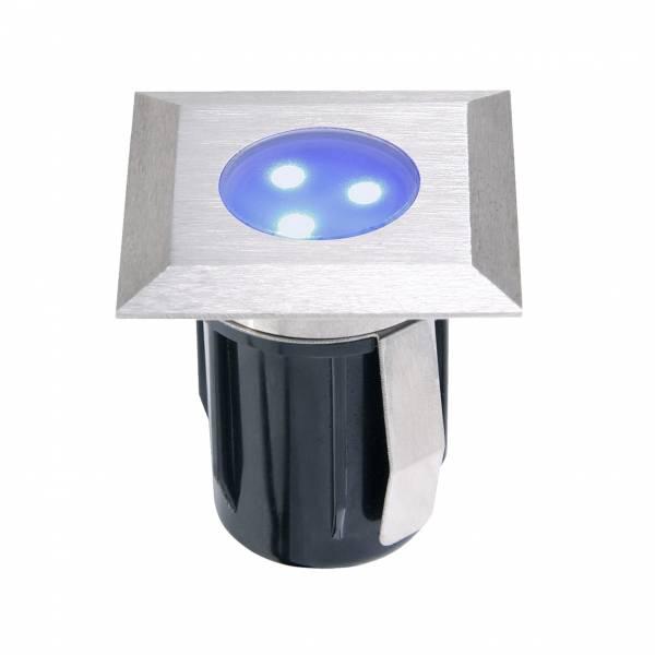 Spot de sol encastrable carré LED 0,5W IP67 bleu Inox 316 12V Garden Pro extérieur