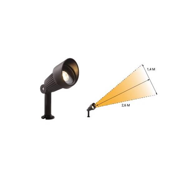 Spot sur pied extérieur noir LED blanc chaud 3W IP44 12 V Garden Pro angle éclairage étanche