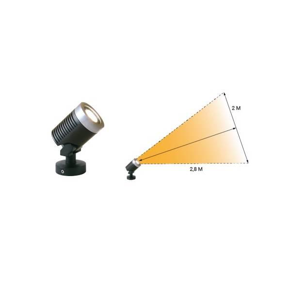 Spot sur pied LED extérieur noir alu 5w orientable blanc chaud 12V professionnel garden pro angle éclairage lampe