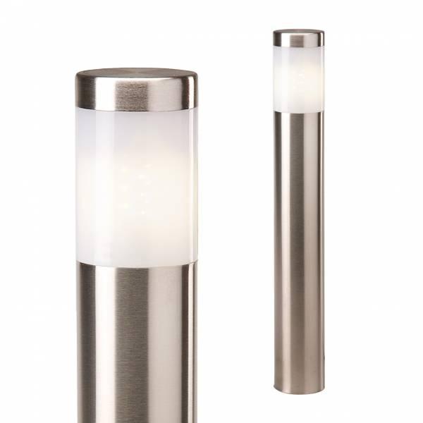 Borne lumineuse extérieur inox LED H41cm blanc chaud 2W 12V IP44 Garden Pro jardin terrasse balcon cour allée
