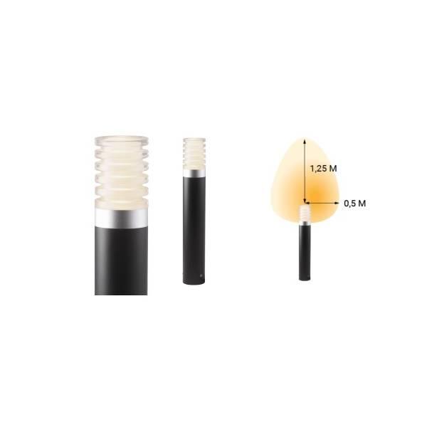 Borne lumineuse extérieur noir H40cm LED blanc chaud 3W 12V IP44 Garden Pro angle éclairage lampe
