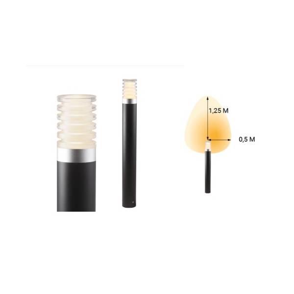 Borne lumineuse LED extérieur noir blanc chaud 3W H60 12V IP44 Garden Pro angle lumineux éclairage lampe