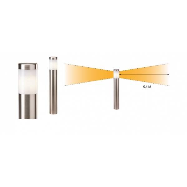 Borne lumineuse extérieur inox LED H41cm blanc chaud 2W 12V IP44 Garden Pro angle éclairage