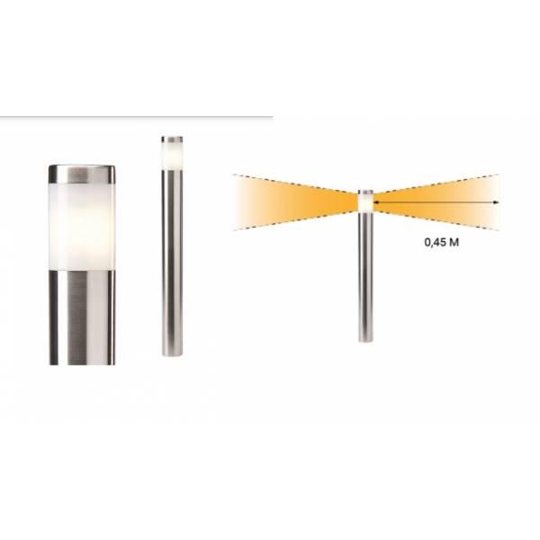 Borne lumineuse LED extérieur H61cm blanc chaud 2W inox 12V IP44 Garden Pro angle éclairage
