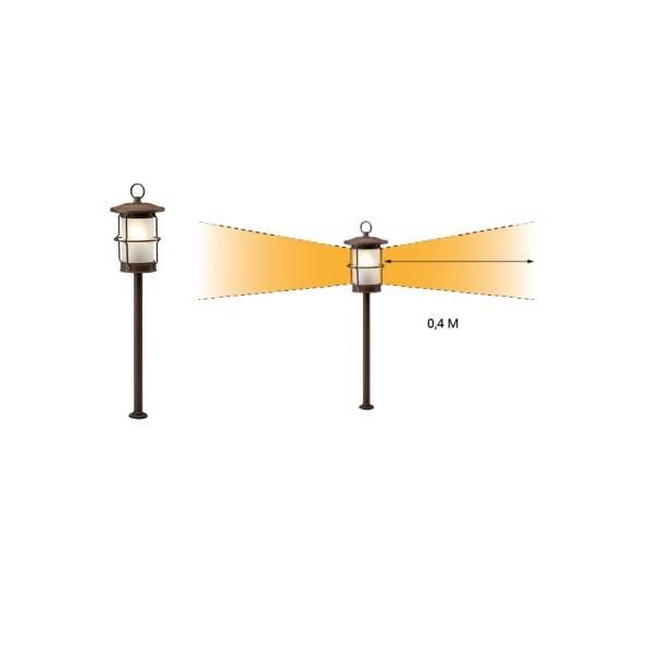 Borne lumineuse extérieur LED 1.5W blanc chaud 12V brun rouille IP44 Garden Pro angle éclairage lampadaire