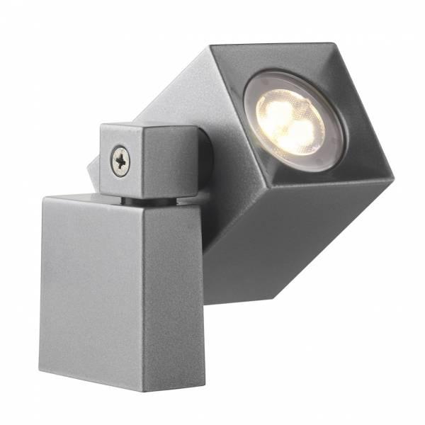 Spot sur pied extérieur LED orientable 2W blanc chaud IP44 gris 12V Garden Pro professionnel applique murale étanche