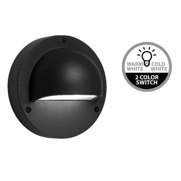 Applique murale LED extérieure noire 1W changement de couleur blanc chaud ou blanc froid 3000 K 6000 K