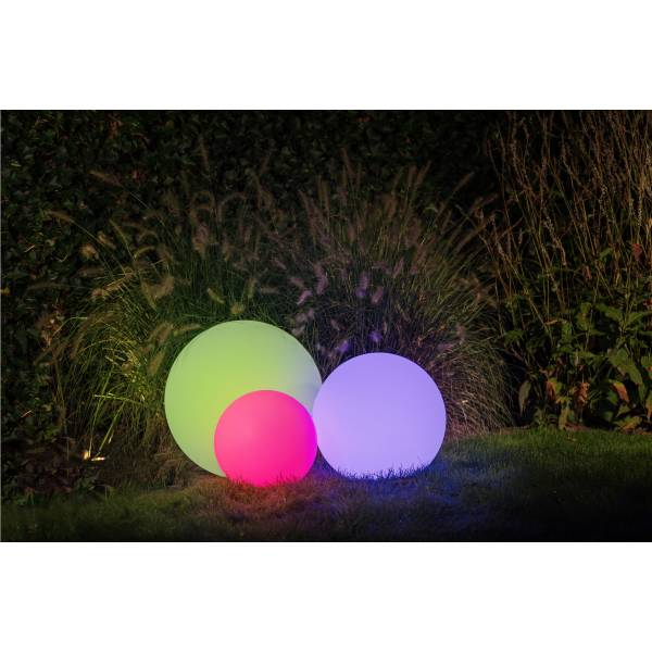 Boule lumineuse extérieur 40CM blanche 3 W LED RGB 12V IP44 Garden Pro sol multicolore sphère luminaire couleur
