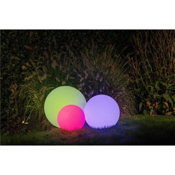 Boule lumineuse extérieur 50CM blanche LED 4W RGB IP44 12V Garden Pro sol multicolore sphère luminaire couleur