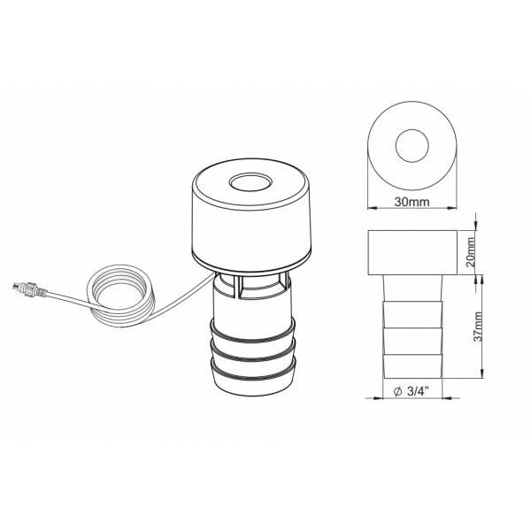 Mini spot encastrable LED 1W rond blanc chaud 12V extérieur IP68 Garden Pro diamètre percer trou dimensions