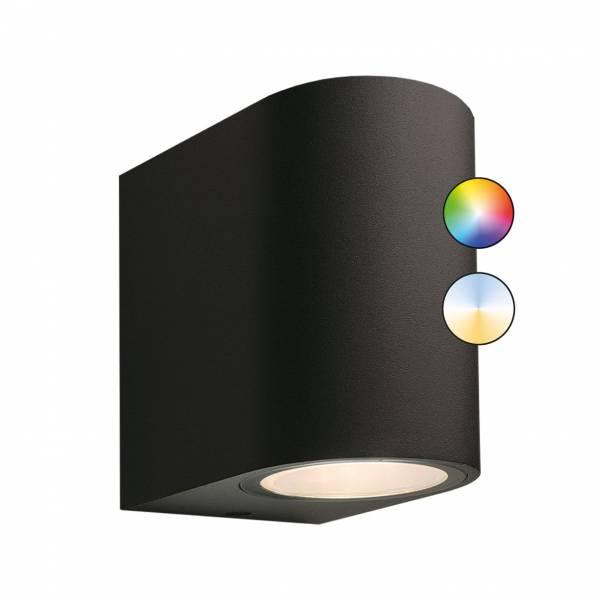 Applique murale connectée intelligente extérieure noire LED 5W RGB + blanc 12V Garden Pro professionnel smartphone