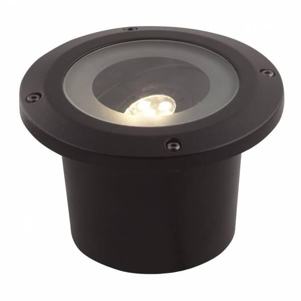 Spot LED encastrable extérieur 5W blanc chaud alu IP67 inclinable noir Garden Pro