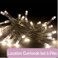 Location Guirlande led piles blanc