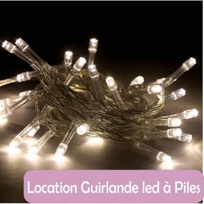 Location Guirlande led piles blanc