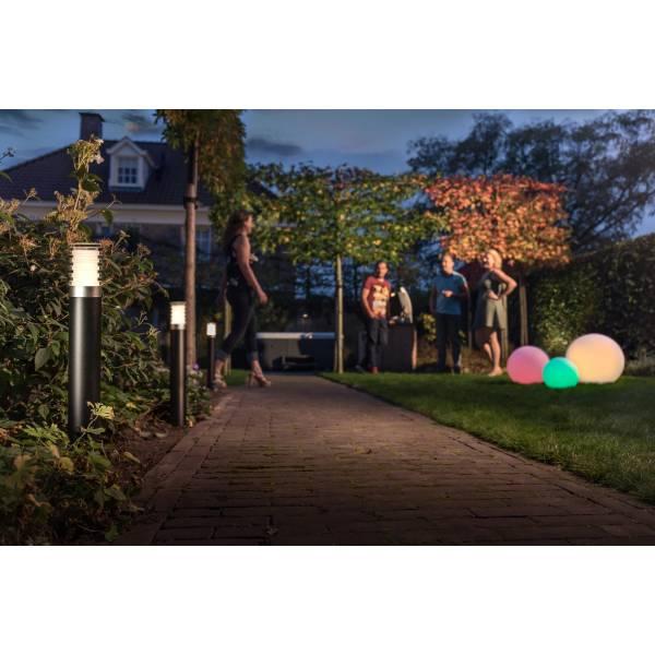 Borne lumineuse LED extérieur noir blanc chaud 3W H60 12V IP44 Garden Pro