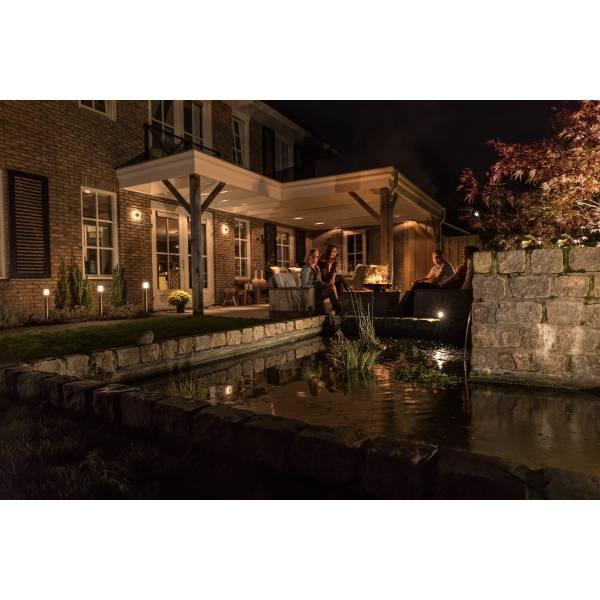 Spot sur pied LED extérieur noir alu 5w orientable blanc chaud 12V professionnel garden pro
