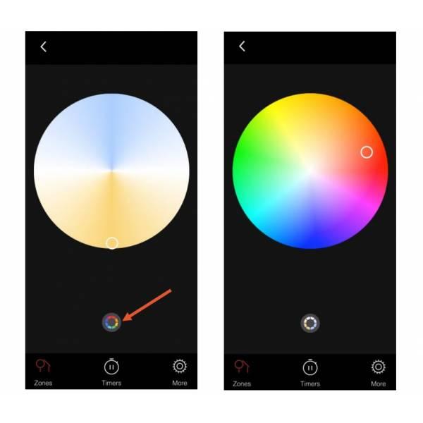 Applique murale connectée intelligente extérieure noire LED 5W RGB + blanc roue chromatique multicolore