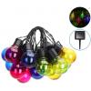 Guirlande Guinguette solaire 4 mètres 20 globes LED multicolores extérieure