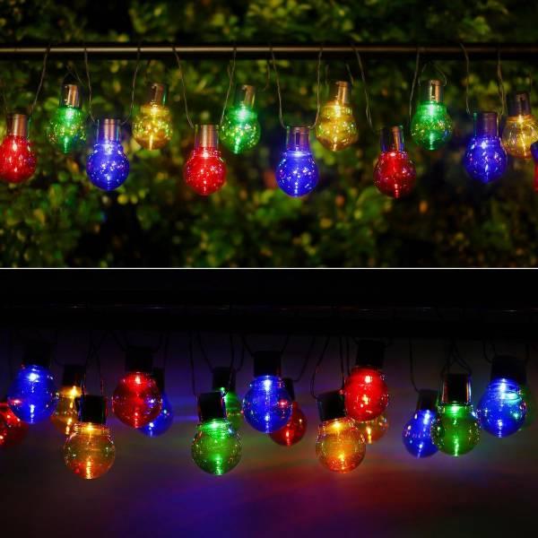 guirlande lumineuse guinguette solaire 4 mètres 20 globes LED multicolores extérieure