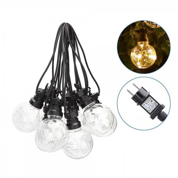 guirlande lumineuse guinguette 10 globes 80mm filament micro led 4.5 mètres extérieur étanche