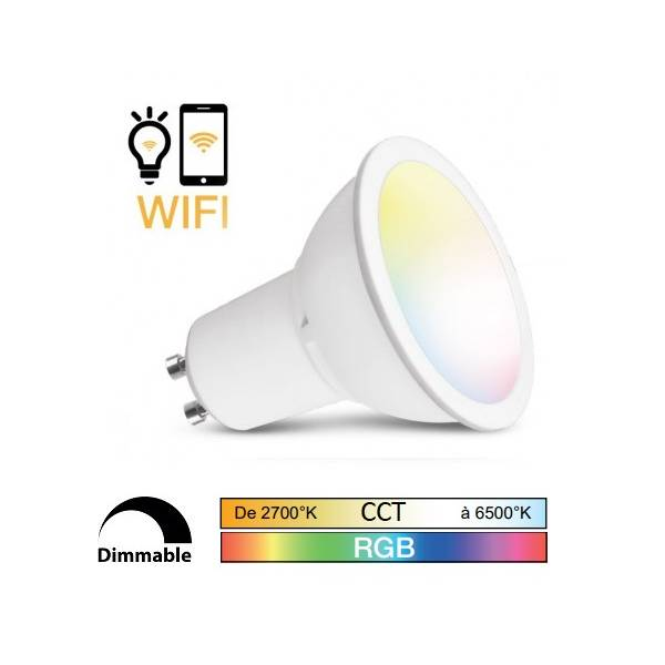 Ampoule LED connectée WIFI dimmable RGB+Blanc CCT 2700K-6500K GU10 5W Vision Pro