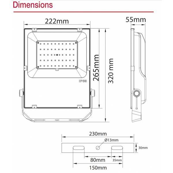 Projecteur led extérieur dimmable RGB et blanc CCT 50W noir IP65 230V dimensions techniques