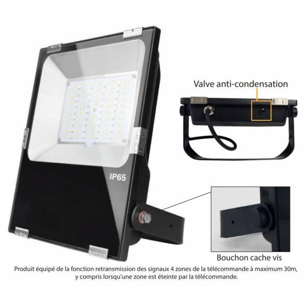 Projecteur led extérieur dimmable RGB et blanc CCT 50W noir IP65 230V