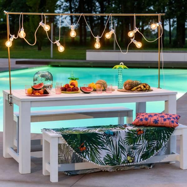 guirlande guinguette pour bar extérieur de piscine